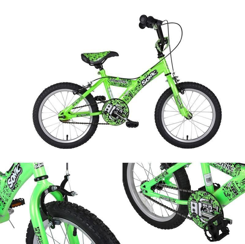 16 Bmx Kids Bicycle Junior Boys Green Street Bike Adjustable