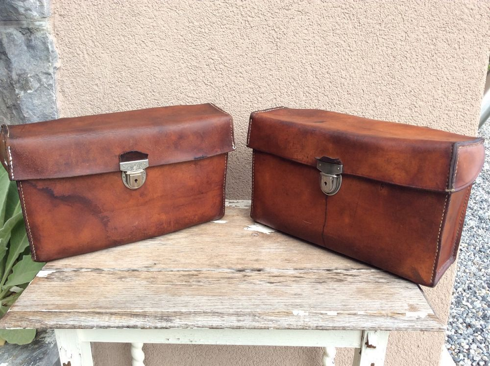 Vintage 1960s Swiss Homa Leather Panniers Luggage Bags Moped Bicycle Motorcycle