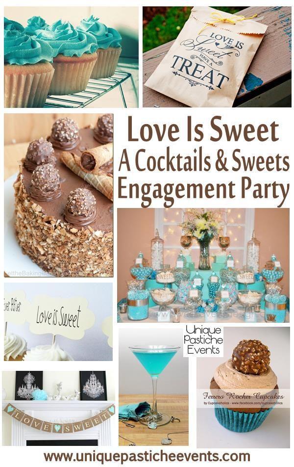Attractive Cocktail Engagement Party Ideas Part - 8: Love Is Sweet Cocktails And Sweets Engagement Party Ideas Teal Blue Bronze  Unique Pastiche Events