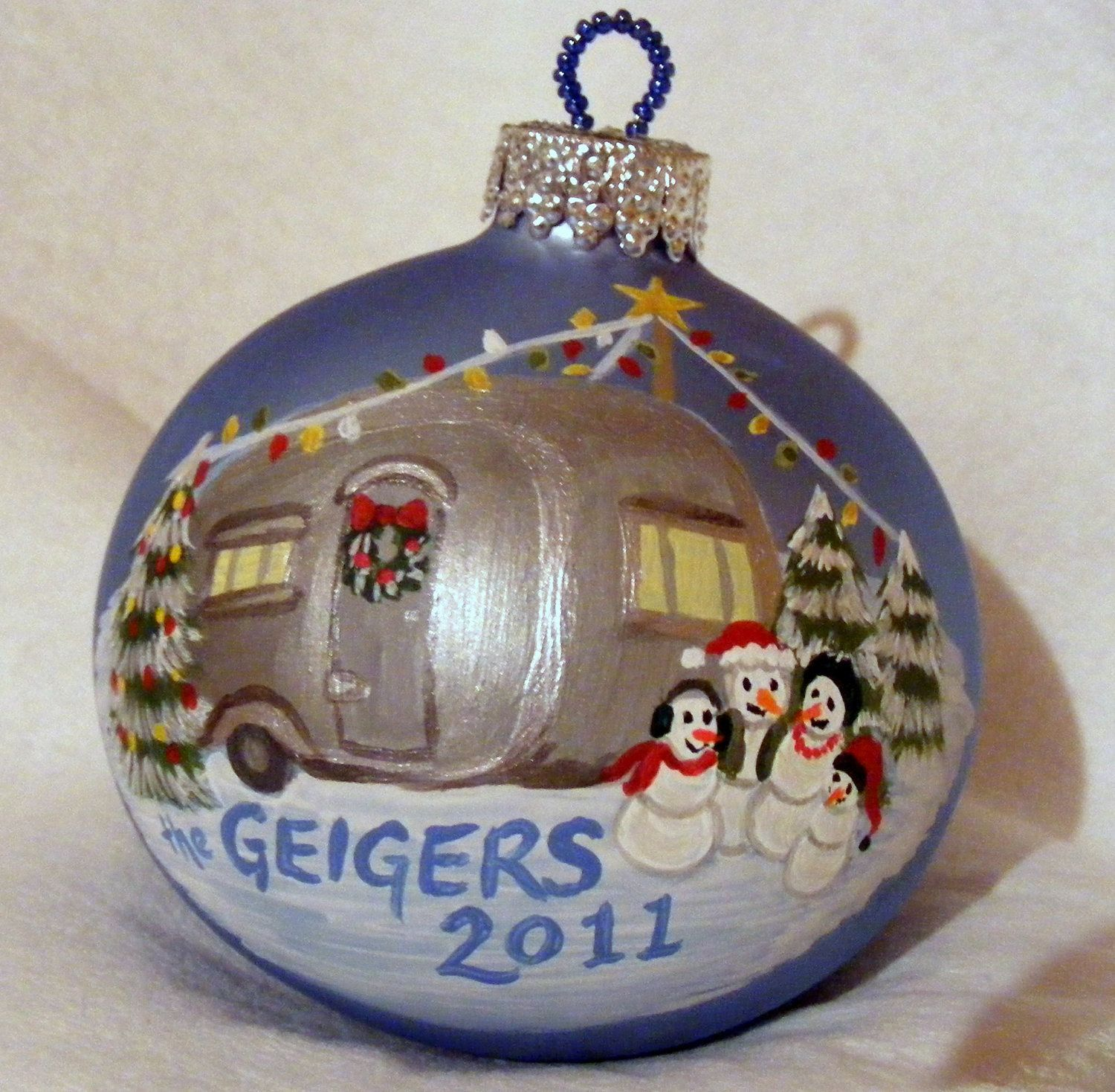Camping Family Order A Custom, Hand Painted, Glass Ornament  Medium