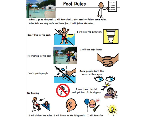 Swimming pool rules board maker share Visual Aids
