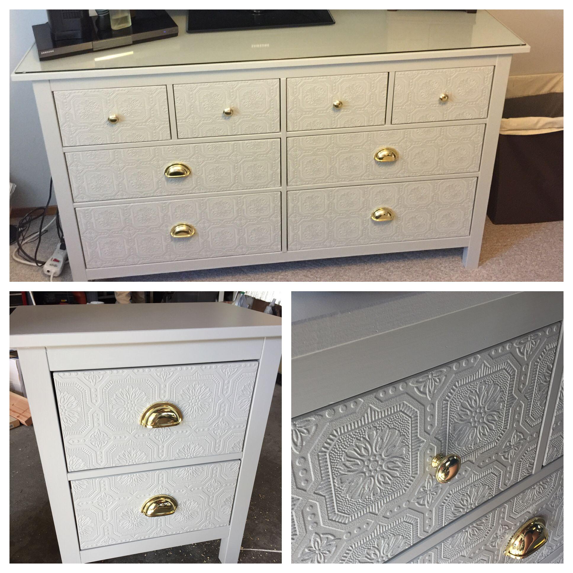 IKEA Hemnes Hack. Embossed Wallpaper Added To Drawer
