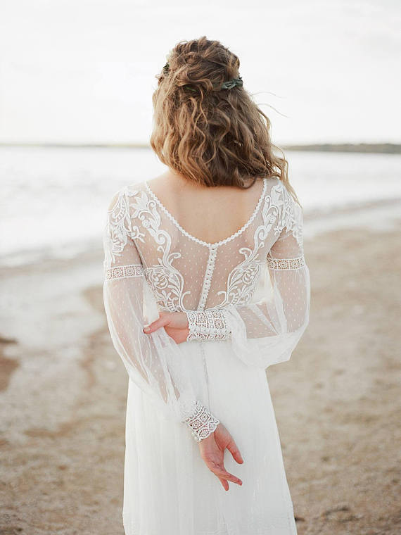Long Sleeve bohemian wedding dress, boho wedding dress, lace wedding ...