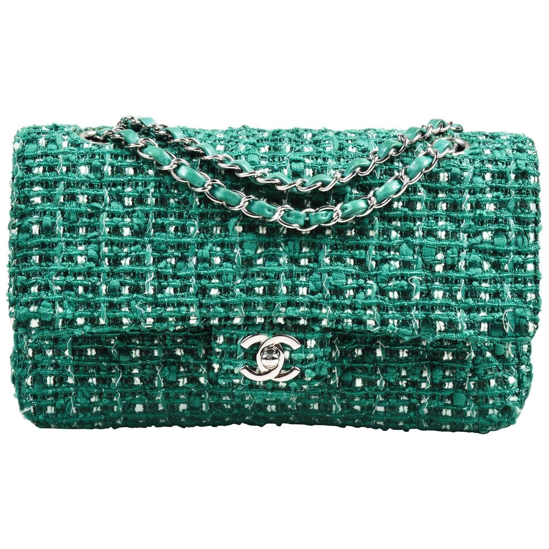 a1f5f63d7f7b68 Chanel Green White Silver Tone Tweed Chain