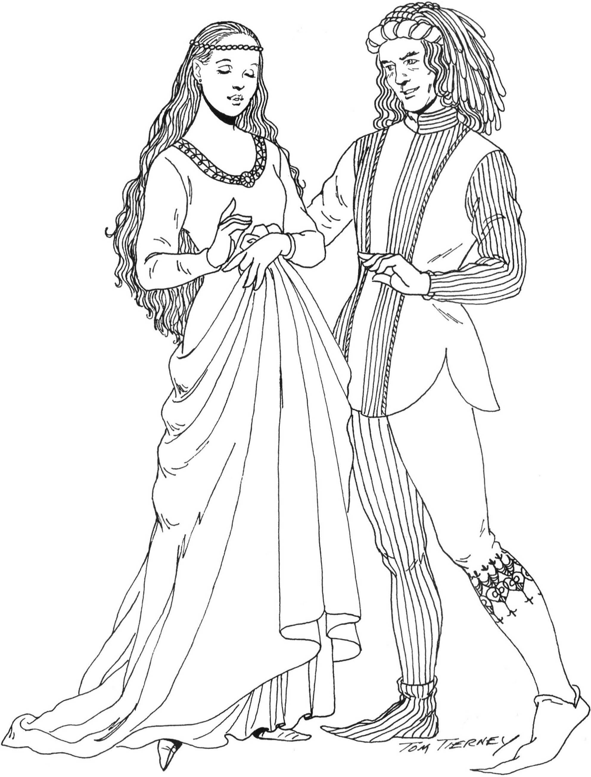 Средневековый костюм женщины рисунки