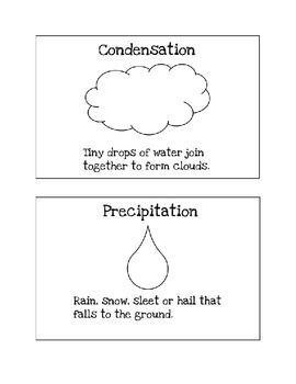 Four Water Cycle Vocabulary Cards Evaporation Condensation Precipitation Accumulation For