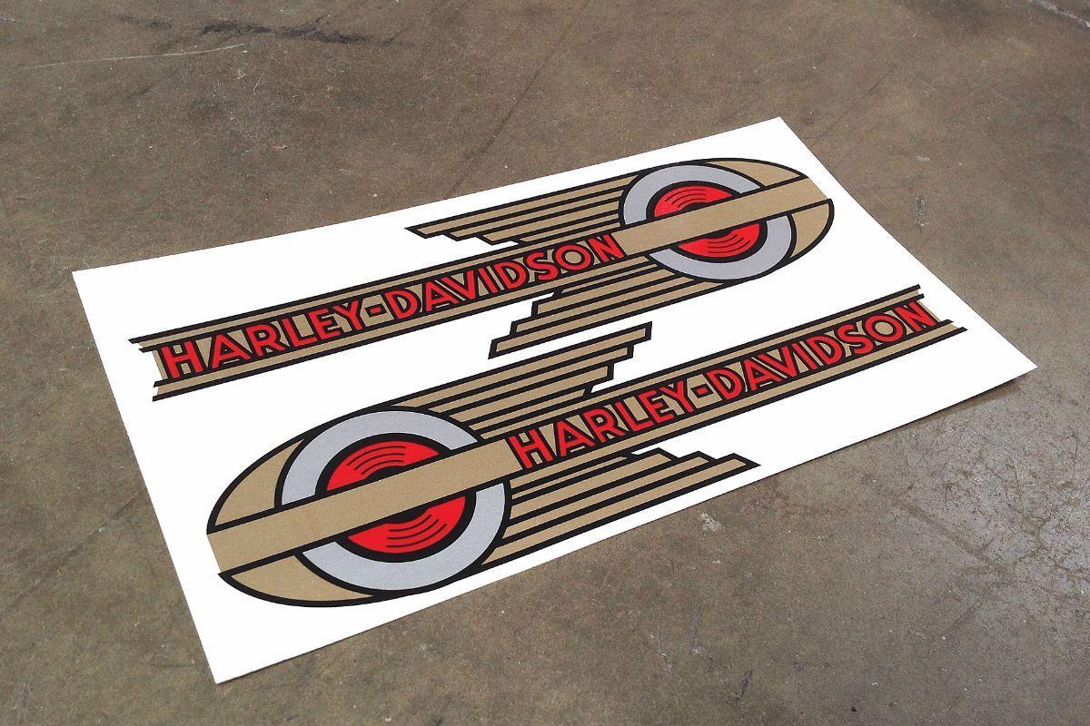 Harley Davidson Oldschool Tank Emblem Decal Zeichnungen