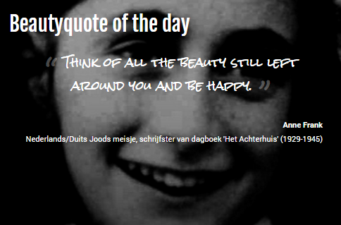 Beautyquote van Anne Frank op www.makeupmymind.nl