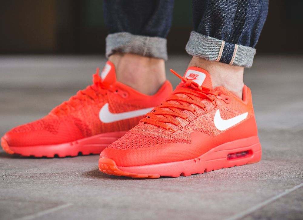fb6a61567ac9 acheter chaussure Nike Air Max 1 Ultra Flyknit rouge (Bright Crimson White  University Red) (homme) (1)