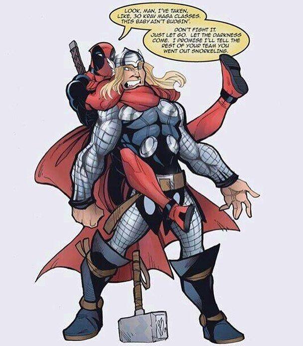 Looks like Thor's got a case of the Mondays.  #Deadpool #vs #Thor #Versus #Mjolnir #MondaySucks #FuckMonday #GoAwayMondayNobodyLikesYou