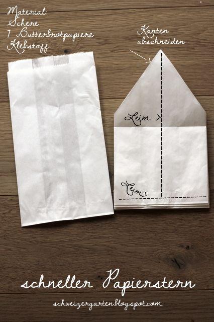 diy schneller papierstern ein schweizer garten weihnachtsbasteln pinterest xmas. Black Bedroom Furniture Sets. Home Design Ideas