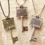 Antique Silver 'October' Calendar Key Necklace