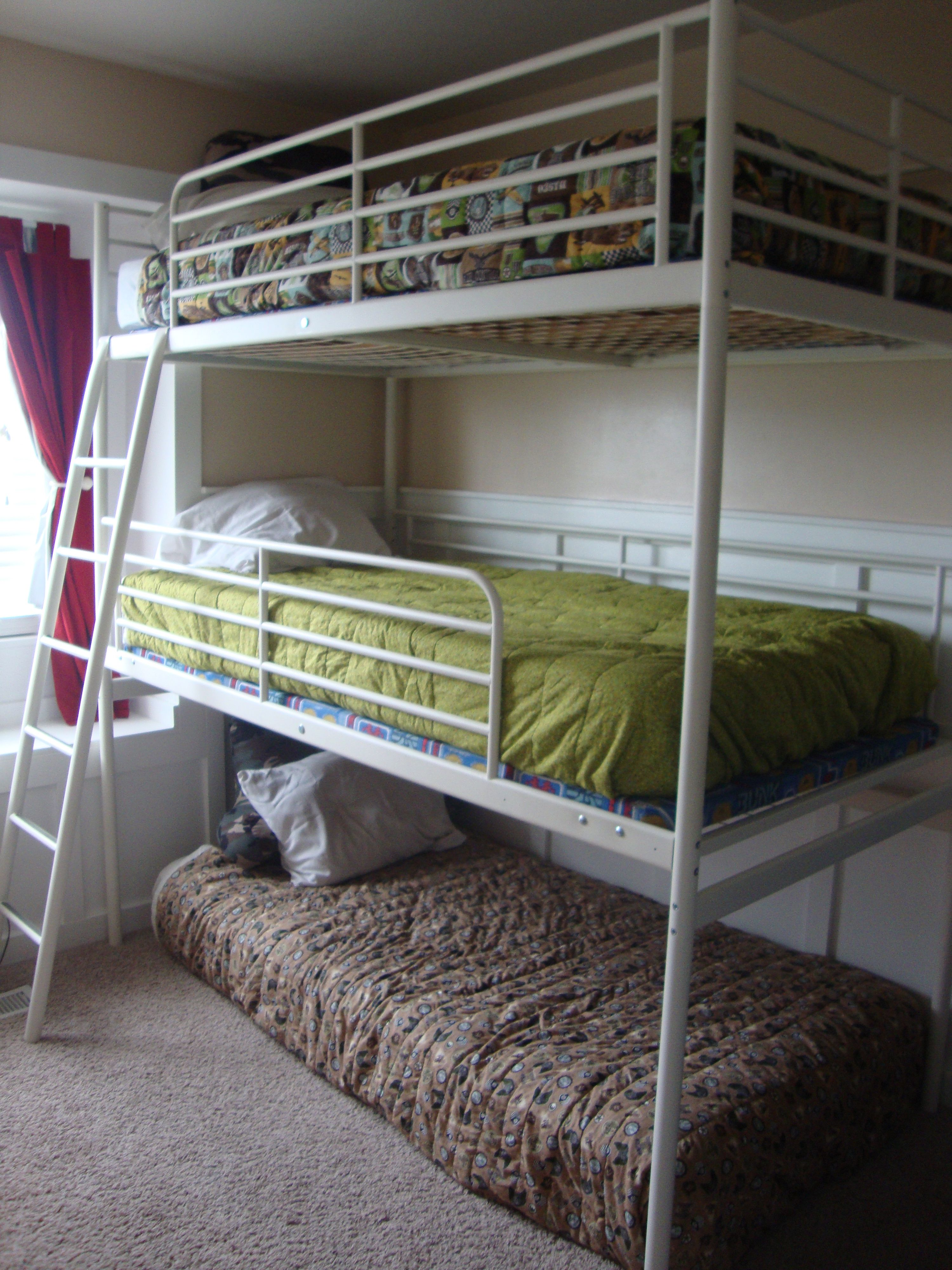 Triple Bunk Bed omg is that an ikea loft with another middle bed and  trundle. Triple Bunk Bed omg is that an ikea loft with another middle bed