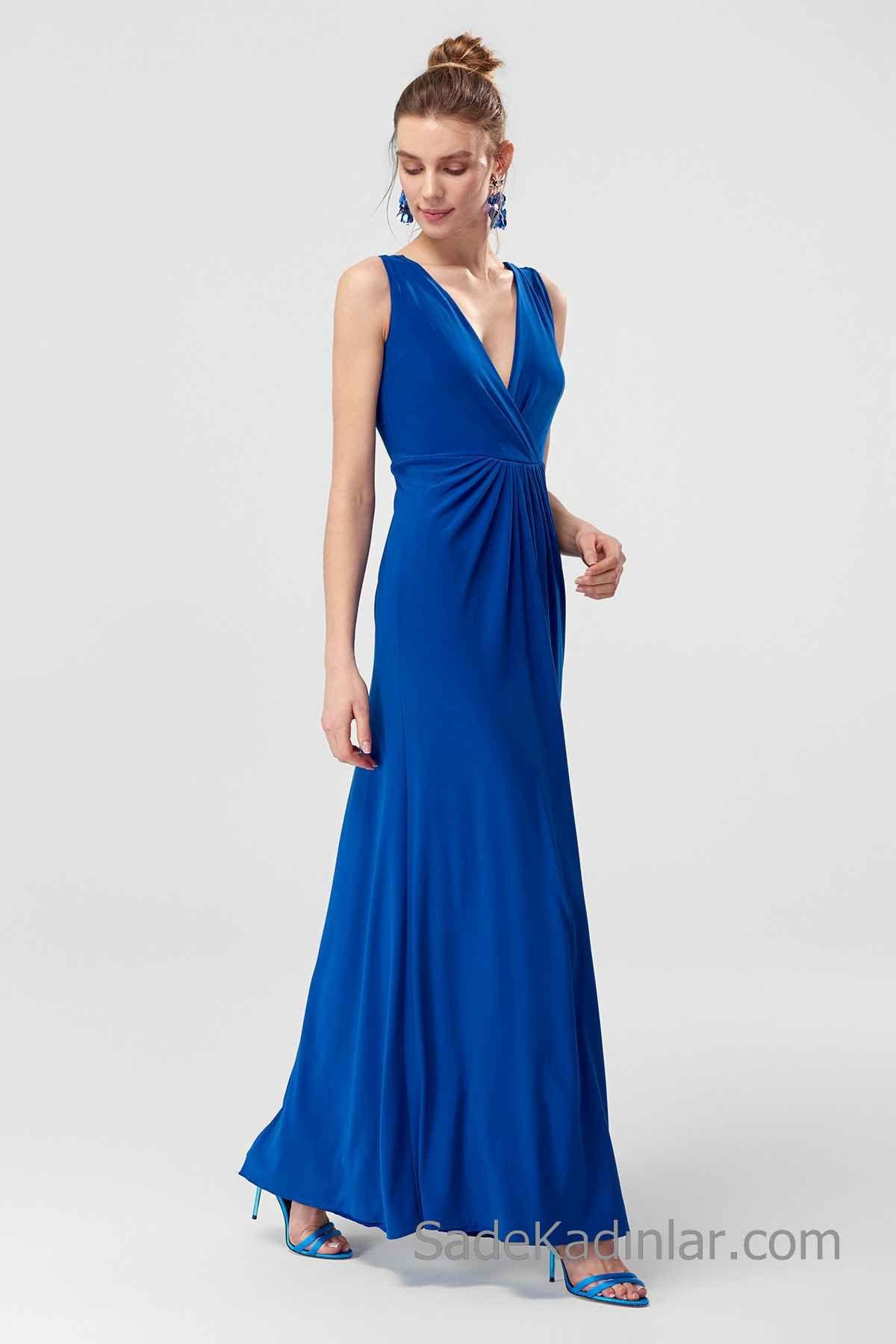 Uzun Abiye Modelleri Saks Mavi Uzun Askılı V YAkalı Büzgülü