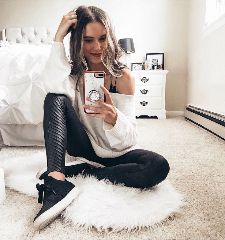 91fe40f7d67b0 Cozy white Off the Shoulder sweater, Black faux leather Moto Leggings