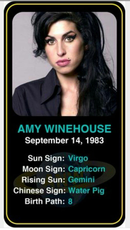 Amy Winehouse Birthday Zodiac Sign Birthchart Winehouse Virgo