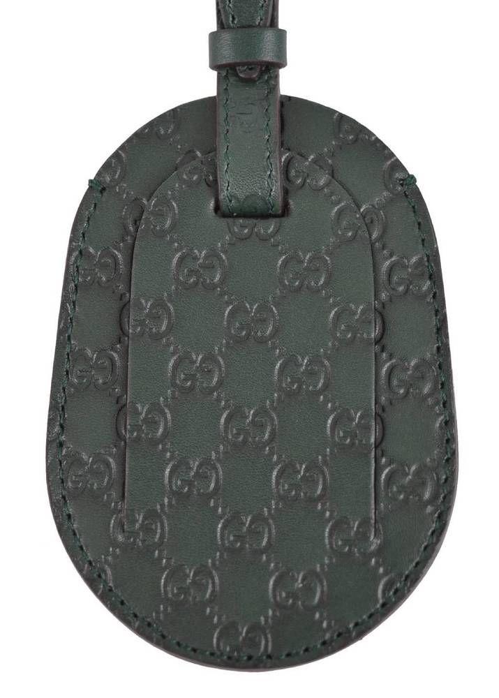 b8b5f787748 New Gucci Green Leather Micro Guccissima GG Logo Luggage Travel ID Tag   Gucci