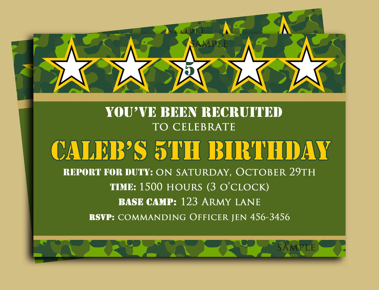 Camouflage Birthday Invitation Printable Camo by ThatPartyChick ...