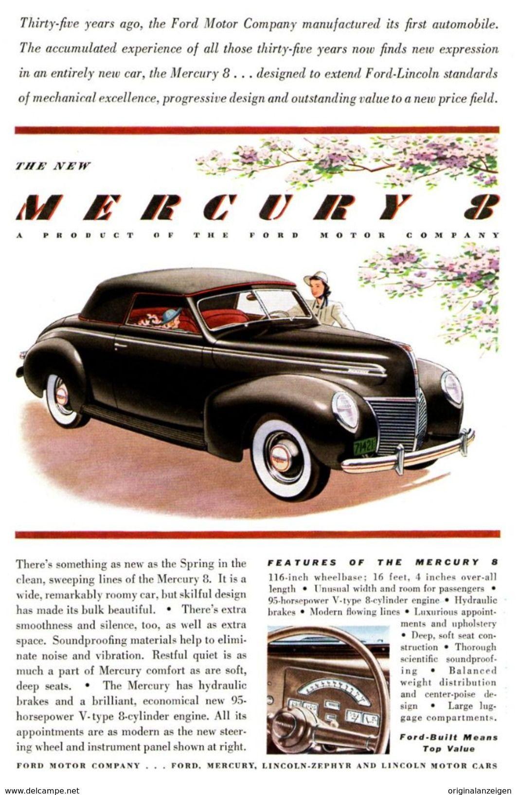 USA : Original - Anzeige / Advertise 1939 (ENGLISH) - MERCURY 8 CAR ...