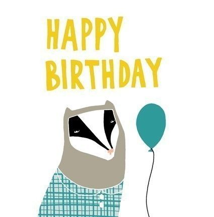 Birthday Badger Card Blue Balloon By Blackoutwell On Etsy 2 00