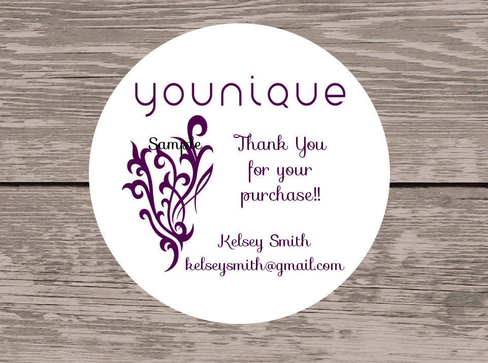 120 white round printed younique customer thank you stickers seals by inkcreations on etsy