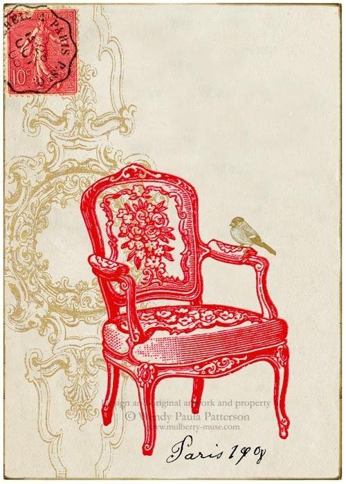 French Regency Red Chair Art Print