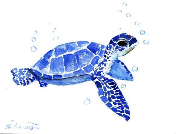 Caretta Caretta Sea Turtle Painting Watercolor Paintings Sea