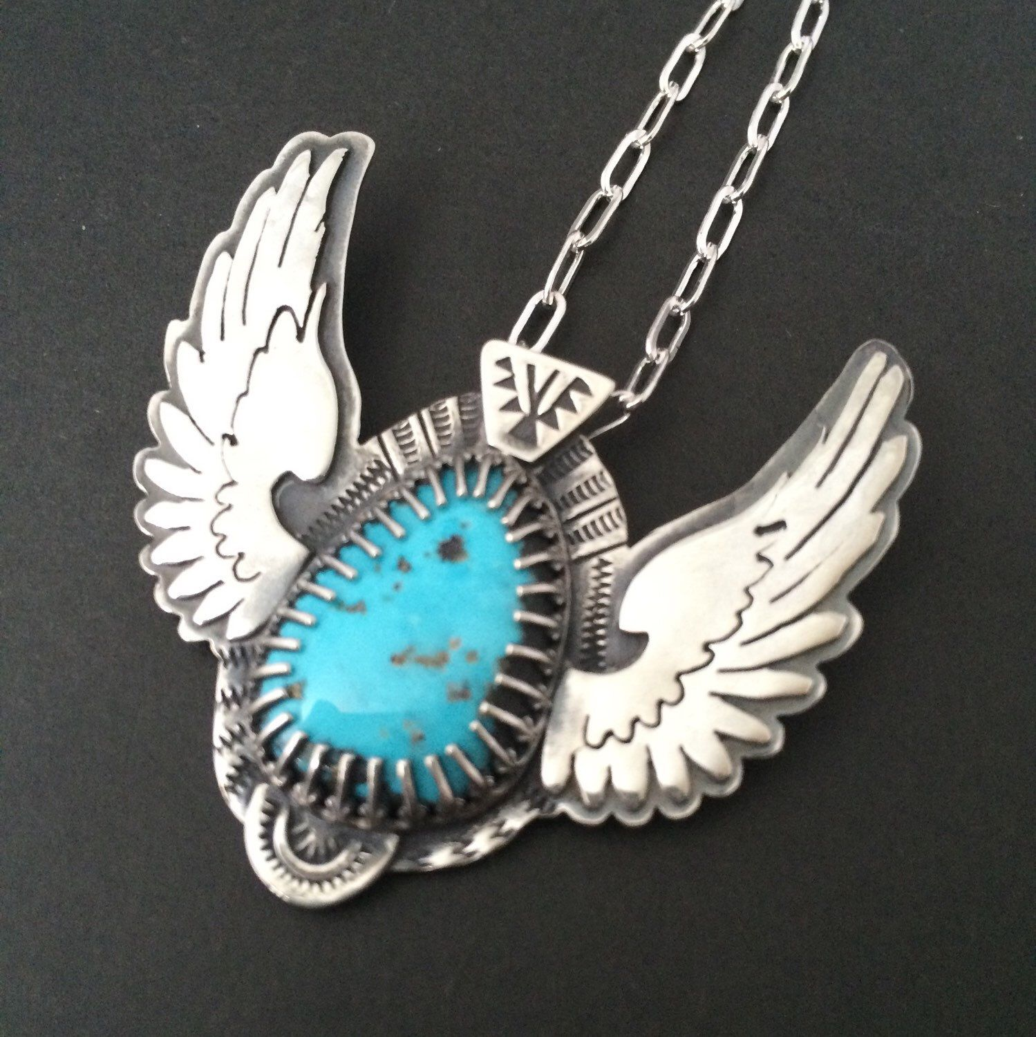Turquoise wing statement necklace - tribal necklace - unique necklace - totem necklace - talisman   by prox on Etsy https://www.etsy.com/listing/227601854/turquoise-wing-statement-necklace-tribal