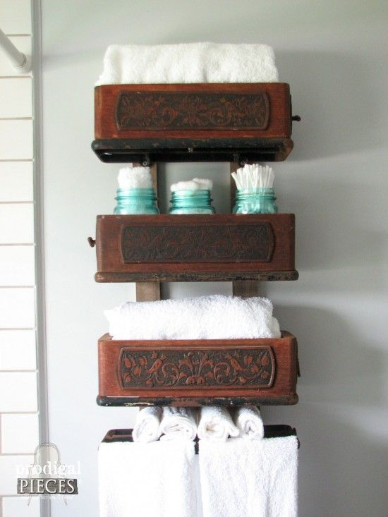 Farmhouse Bathroom Remodel Reveal Sewing Machine Drawers