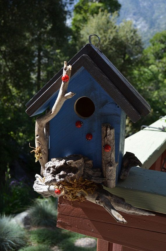 Rustic Birdhouses  Blue Birdhouse Country by BirdhousesByMichele, $60.00 These birdouses have become very popular, including all around my neighborhood. I love see them hanging from everyone's porch.
