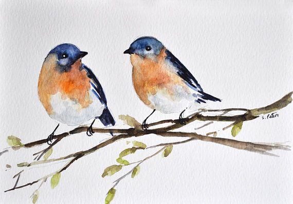 ORIGINAL Watercolor Bird Painting, Orange Blue Robins Illustration 6x8 inch