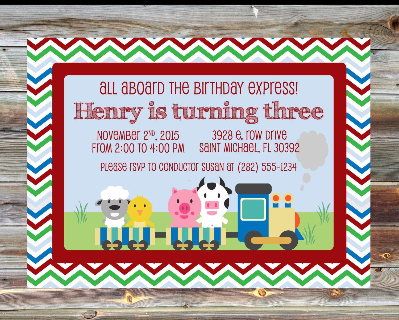 Printable Custom Train Theme Birthday Invitation