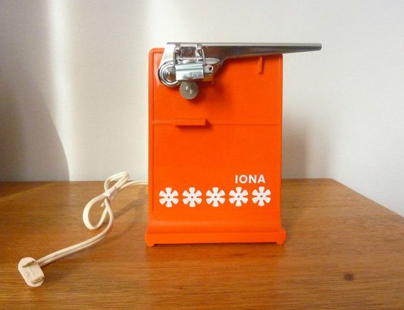 1960u0027s vintage orange iona electric can opener by
