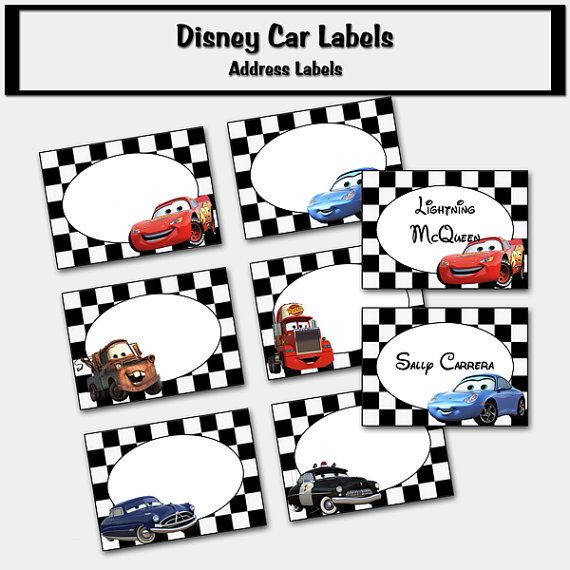 disney cars inspired labels place cards address by custombazaar, Birthday invitations