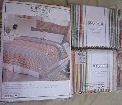 Dormisette Winter Sateen German Flannel Duvet Cover Set Brushed Cotton Striped