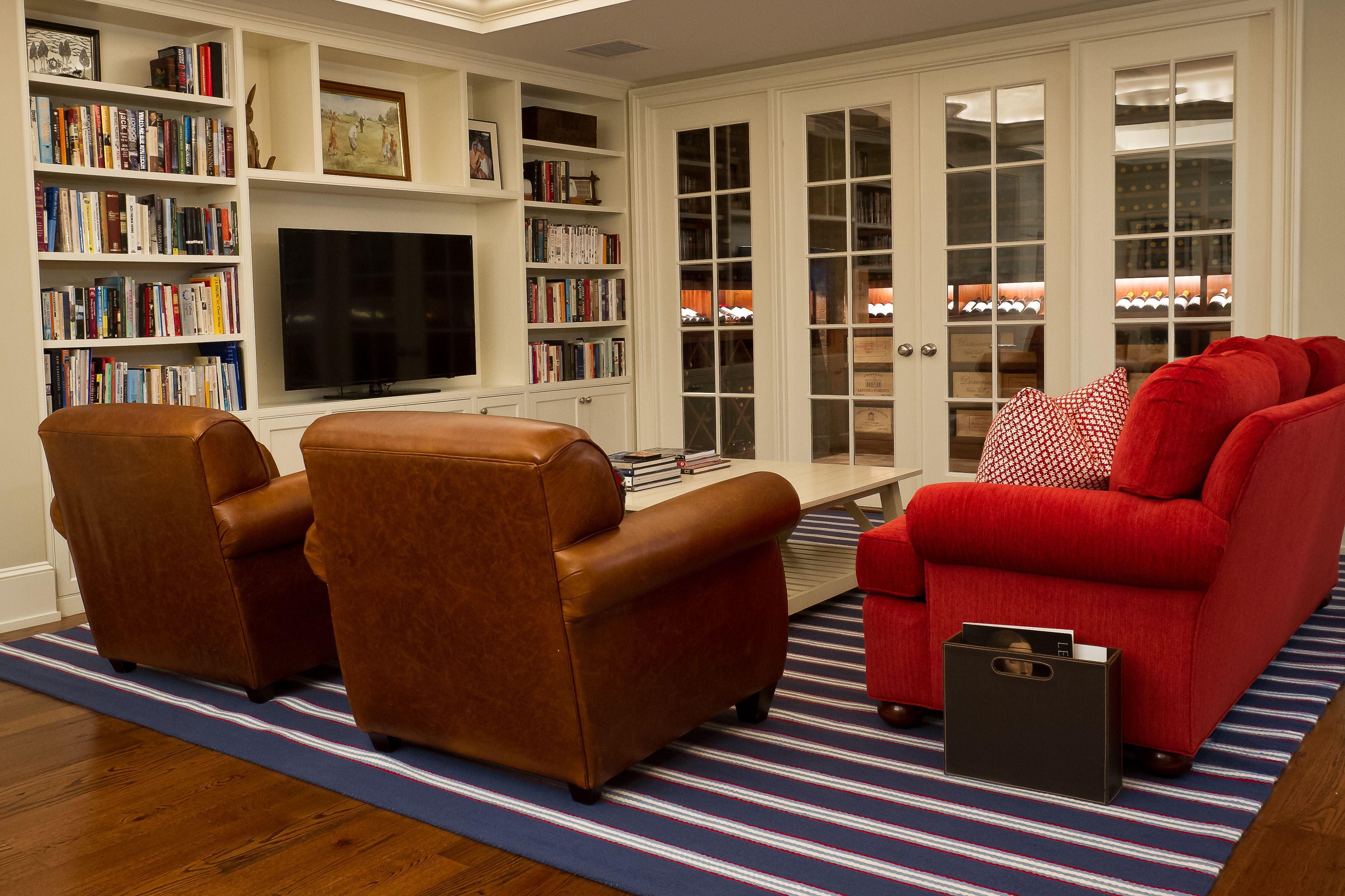 Nautical Themed Living Room With Red Couch And Double Leather