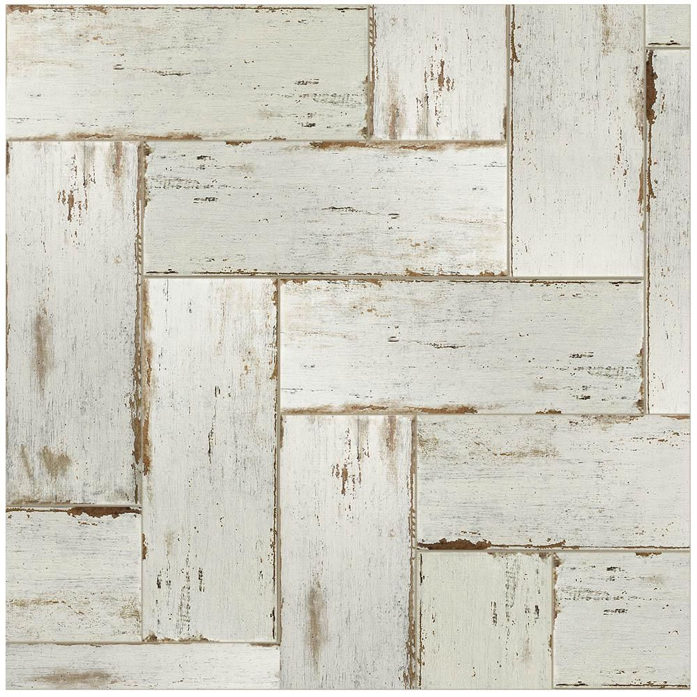 Merola Tile Retro Blanc 8 1 4 In X 23 1 2 In Porcelain Floor And Wall Tile 11 22 Sq Ft Case Fnurt8bl Th Porcelain Wood Tile Flooring Wood Tile Floors
