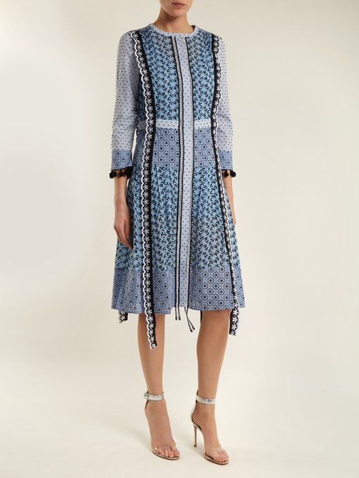 Grenelle Broderie Anglaise-trimmed Swiss-dot Cotton And Chiffon Midi Dress - Sky blue Altuzarra PZBBzD2tbY