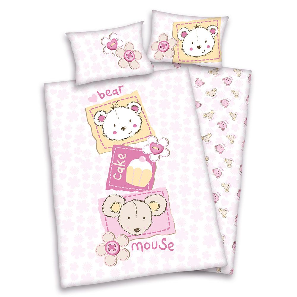 Baby Best Wende Bettwäsche 100x135 Cm Maus Bär Rosa Babyartikel De Baby Bedding Sets 100 Cotton Duvet Covers Baby Duvet