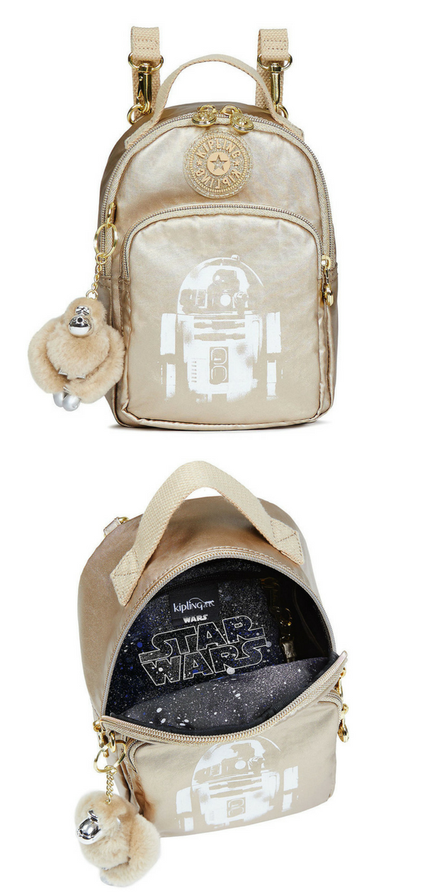 Make a shiny gold Star Wars fashion statement with this R2-D2 backpack The  removable canvas straps can transform this versatile accessory into a  crossbody ... 172e81d2b7884