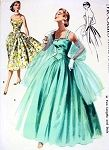 1950s Strapless Bombshell Cocktail Party Dress or Dreamy Full Length Evening Formal Gown and Stole Pattern Strapless or Straps Version Glamorous Fifties Fashion