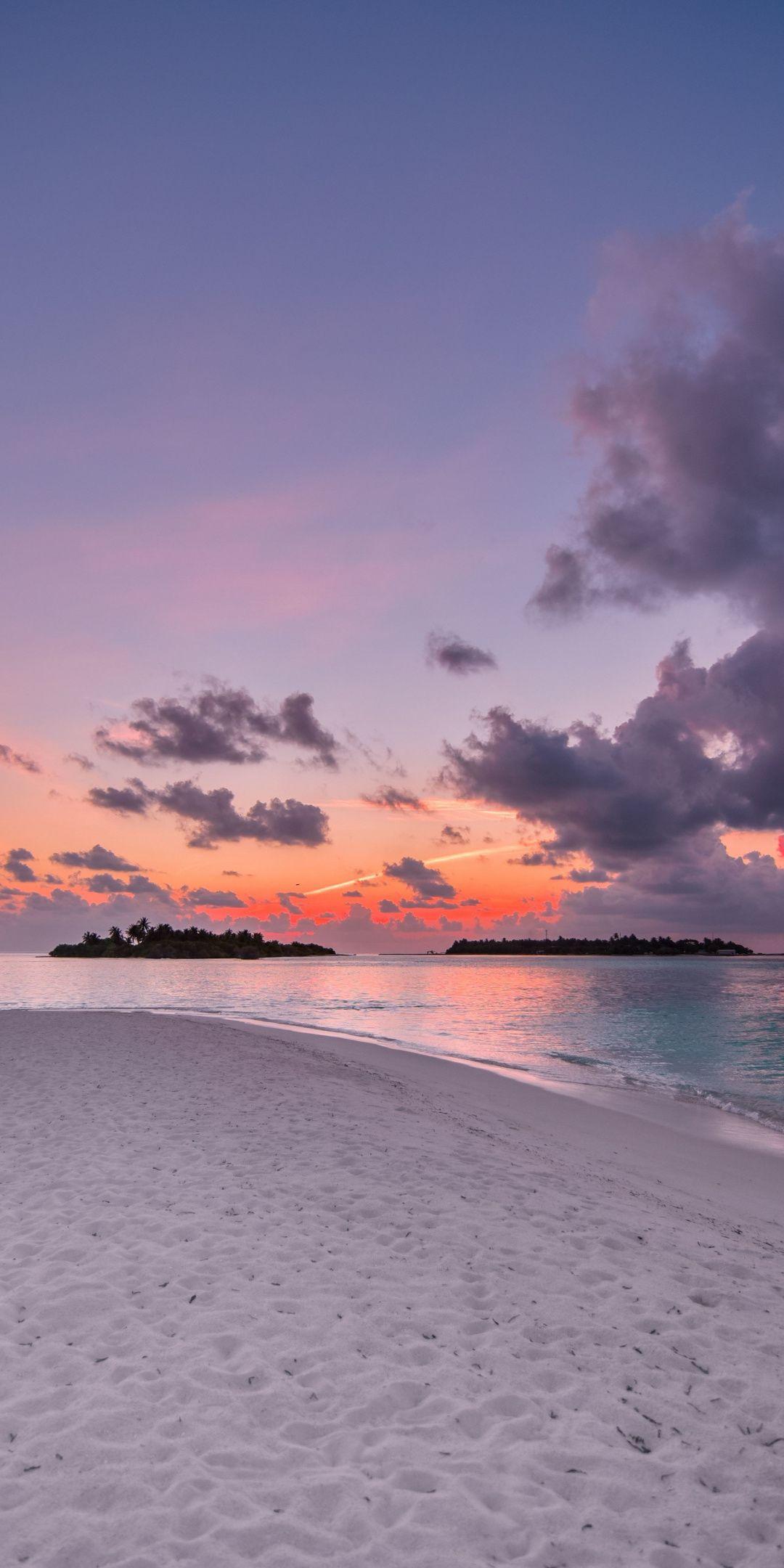 Beach, island, sunset, clouds, nature, 1080x2160 w