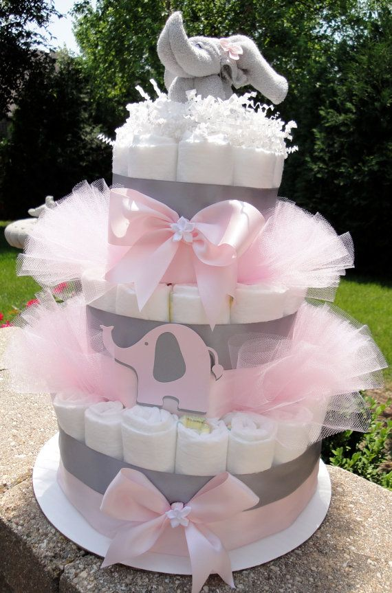 Diaper Cake Light Pink Gray Elegant Elephant Baby Girl Baby