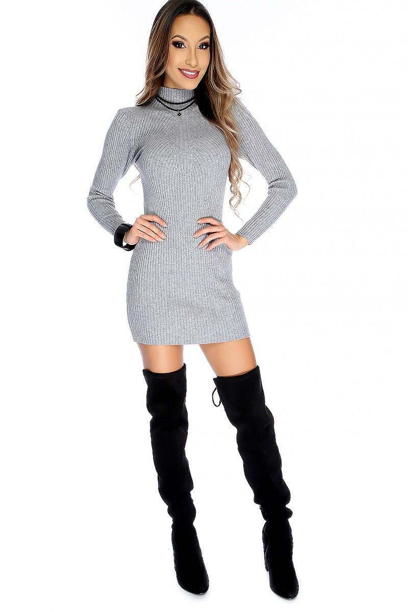 645c3c403c Sexy Gray Mock Neck Ribbed Long Sleeve Bodycon Sweater Dress in 2019 ...