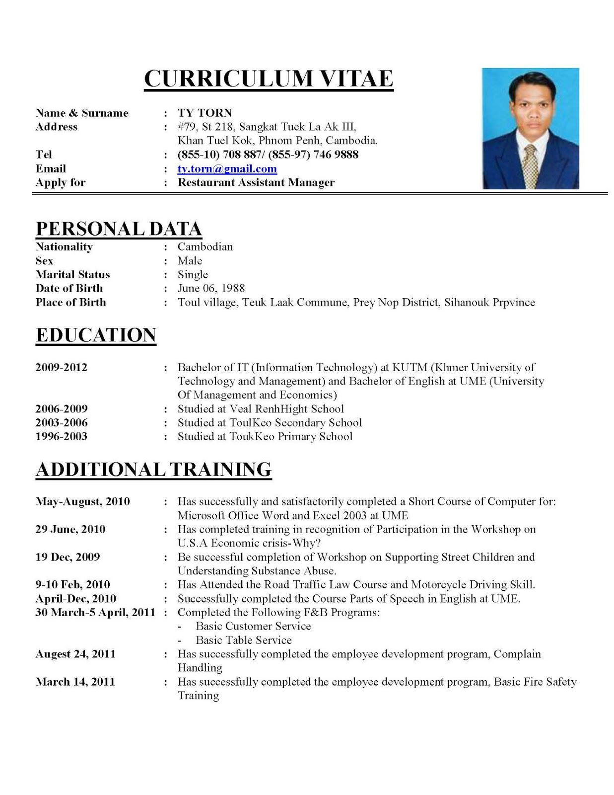 Writing A Perfect Curriculum Vitae Sample Cv Hznrkdk | Example ...