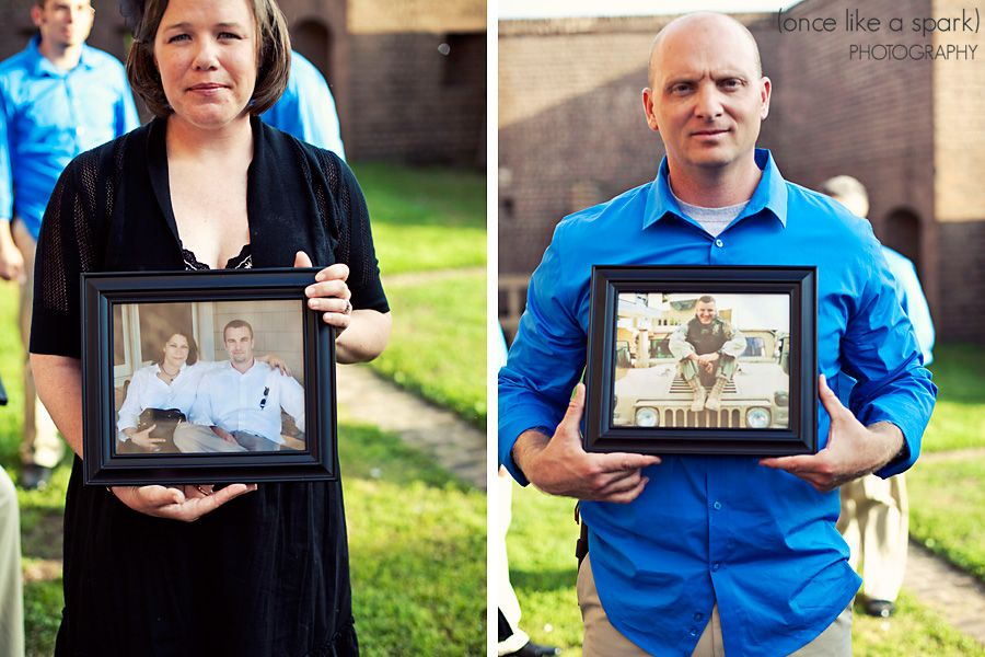 To honor lost loved ones, members of the bridal party walked in holding photos of those lost. Dana + Jake::DIY Savannah Wedding at Old Fort Jackson