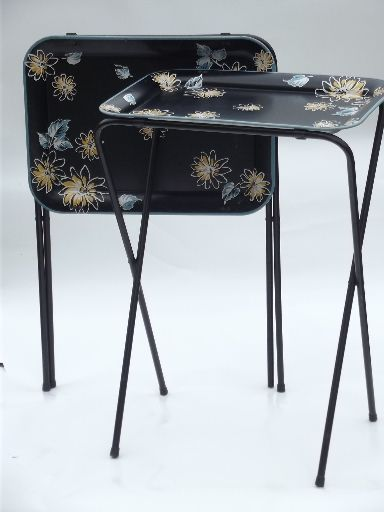 Vintage tin tray TV tables folding snack tables w/ mod flowers on black & Set of two mid-century vintage TV tables with retro flowers on black ...