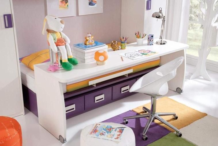 Habitaciones con poco espacio soluci n cama con escritorio integrado rimobel hogar - Habitaciones infantiles dobles poco espacio ...