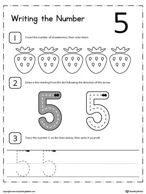 Learn To Count And Write Number 5 Numbers Kindergarten Numbers Preschool Preschool Worksheets