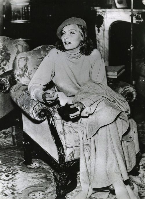 Greta Garbo aboard an ocean liner as she returns home to Sweden for an indefinite stay, 1932.